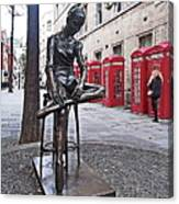 Ballerina Statue And Telephone Boxes Canvas Print