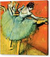 Ballet Dancers At The Barre Canvas Print