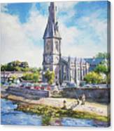 Ballina Cathedral On River Moy Canvas Print