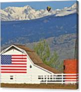 Balloon Barn And Mountains Canvas Print
