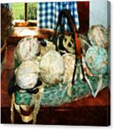Balls Of Cloth Strips In Basket Canvas Print