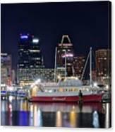 Baltimore Harbor At Night Canvas Print