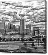 Baltimore Inner Harbor Dramatic Clouds Panorama In Black And White Canvas Print