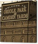 Baltimore Orioles Park At Camden Yards Sepia Canvas Print