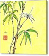 Bamboo And Dragonfly Canvas Print