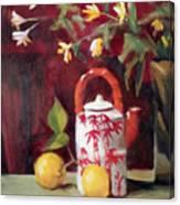 Bamboo Teapot With Lemons Canvas Print