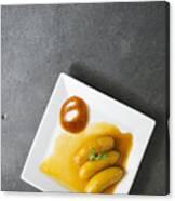 Banana Flambee With Caramel Asian Dessert Canvas Print