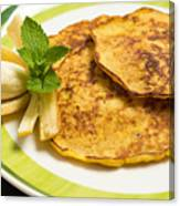 Banana Pancakes Closeup Canvas Print