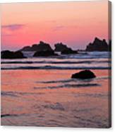 Bandon Beach Sunset Silhouette Canvas Print