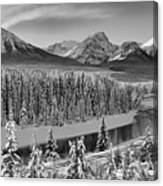 Banff Bow River Black And White Canvas Print