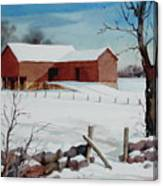 Bankbarn In The Snow Canvas Print