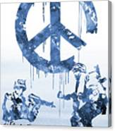 Banksy Soldiers-blue Canvas Print
