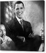 Barack Obama Martin Luther King Jr And Malcolm X Canvas Print