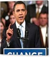 Barack Obama On Stage For Barack Obama Canvas Print