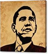 Barack Obama Original Coffee Painting Canvas Print