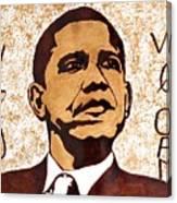 Barack Obama Words Of Wisdom Coffee Painting Canvas Print