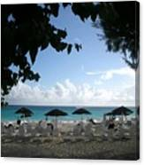 Barbados Umbrellas Canvas Print