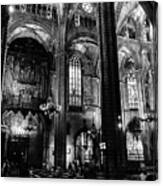 Barcelona Cathedral Interior Bw Canvas Print
