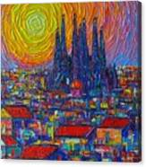 Barcelona Colorful Sunset Over Sagrada Familia Abstract City Knife Oil Painting Ana Maria Edulescu Canvas Print