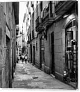 Barcelona Small Streets Bw Canvas Print