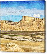 Bardenas Desert Panorama 3 - Vintage Version Canvas Print