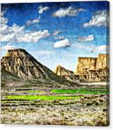 Bardenas Desert Panorama 4 - Vintage Version Canvas Print