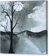 Bare Tree In Moonlight Canvas Print