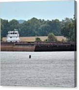 Barge On Tennessee River At Shiloh National Military Park Canvas Print