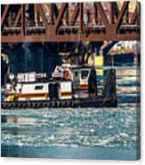 Barge Work With The Tug Tanner Canvas Print