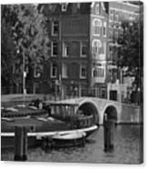 Barges By The Bridge Canvas Print