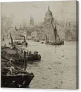 Barges On The South Bank Canvas Print