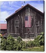 Barn And American Flag Canvas Print