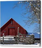 Barn And Blue Sky Canvas Print
