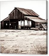 Barn And Irrigation Pipes Canvas Print