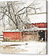 Barn And Pond Canvas Print