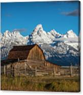 Barn And Snow Capped Tetons Canvas Print