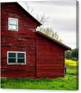 Barn And Wildflowers Canvas Print