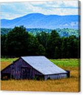 Barn Below Trees And Mountains Canvas Print