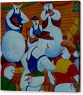 Barn Dancing Snowmen Canvas Print