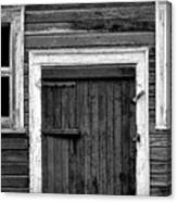 Barn Door And Windows Bw Canvas Print
