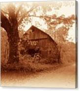 Barn Hocking Co Ohio Sepia Canvas Print