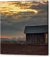 Barn House On The Burning Field Canvas Print