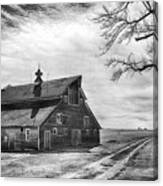 Barn In Black And White Canvas Print