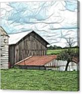 Barn Landscape Colored Pencil Chicken Scratch Effect Canvas Print