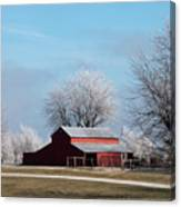 Barn On Frosty Morn Canvas Print