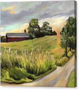 Barn On The Ridge In West Newbury Vermont Canvas Print
