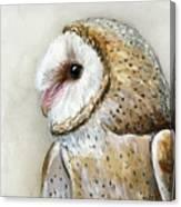 Barn Owl Watercolor Canvas Print