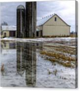 Barn Reflection After A Snowstorm Canvas Print