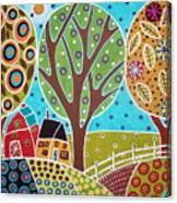 Barn Trees And Garden Canvas Print