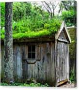 Barn With Green Roof Canvas Print